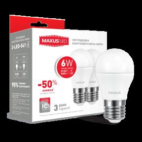 Набір LED ламп MAXUS G45 6W тепле світло E27 (2-LED-541-01) 540Lm